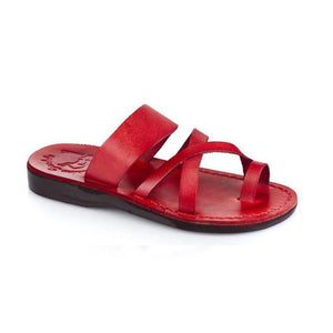 The Good Shepherd red, handmade leather slide sandals with toe loop - Front View