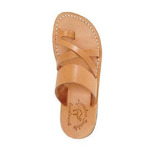 The Good Shepherd tan, handmade leather slide sandals with toe loop - Side View