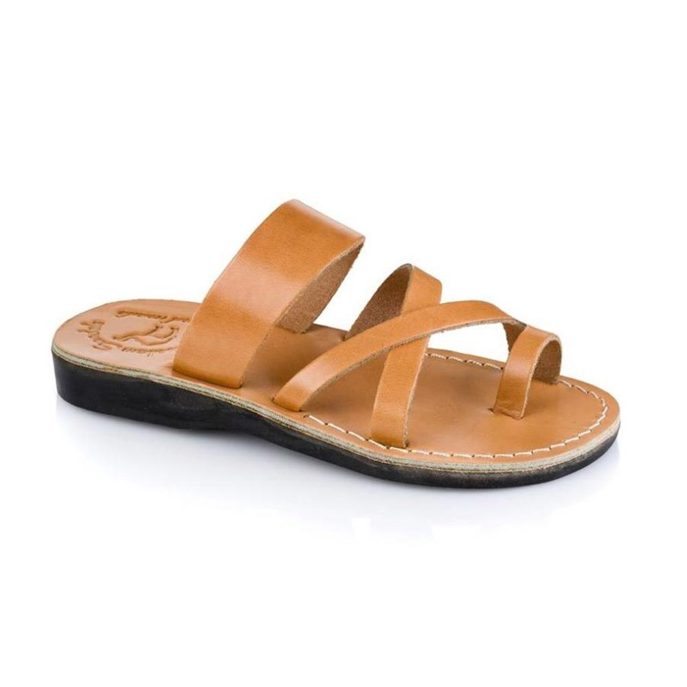 The Good Shepherd tan, handmade leather slide sandals with toe loop - Front View