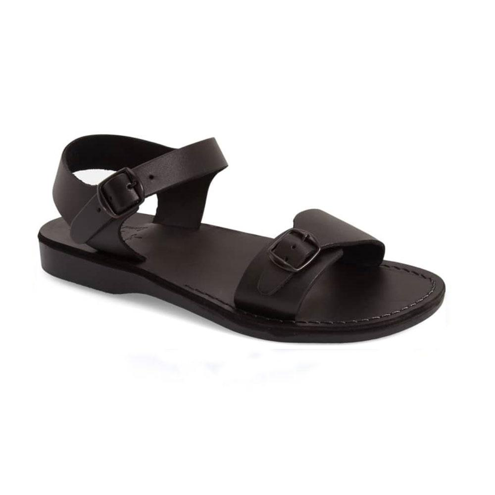 The Original black, handmade leather sandals with back strap  - Front View