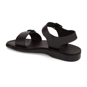 The Original black, handmade leather sandals with back strap - back View