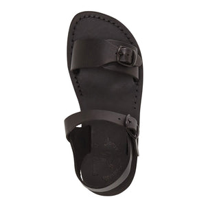 The Original black, handmade leather sandals with back strap - up View