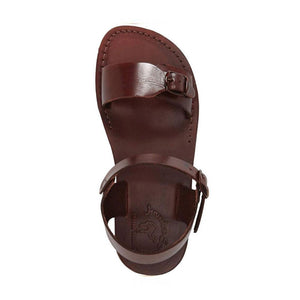The Original brown, handmade leather sandals with back strap  - Side View
