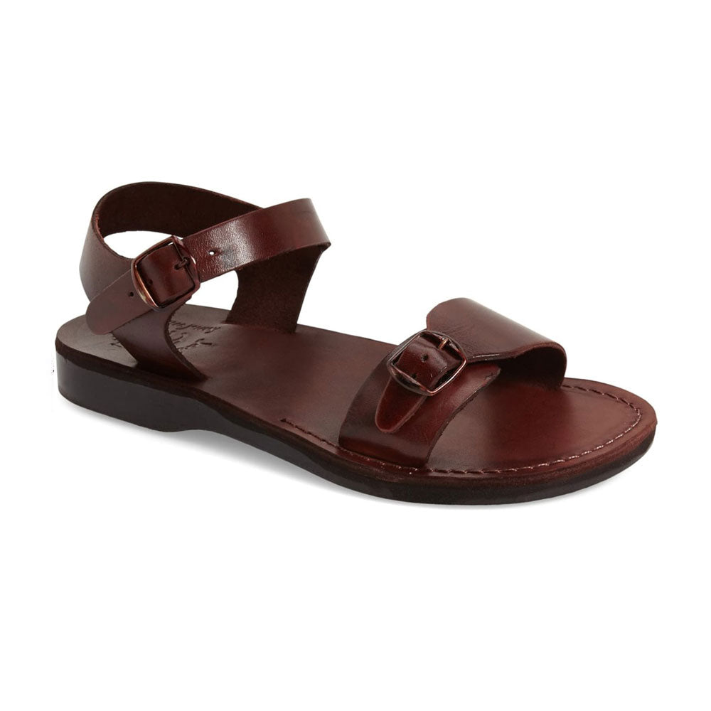 The Original brown, handmade leather sandals with back strap - Front View