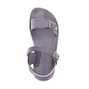 The Original gray, handmade leather sandals with back strap - Side View