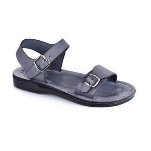 The Original gray, handmade leather sandals with back strap  - Front View