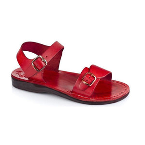 The Original red, handmade leather sandals with back strap  - Front View