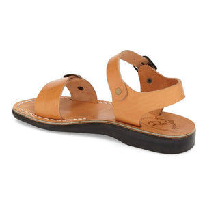 The Original tan, handmade leather sandals with back strap - back View