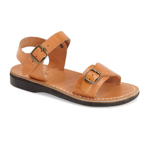 The Original tan, handmade leather sandals with back strap - Front View