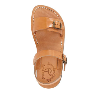 The Original tan, handmade leather sandals with back strap - Side View