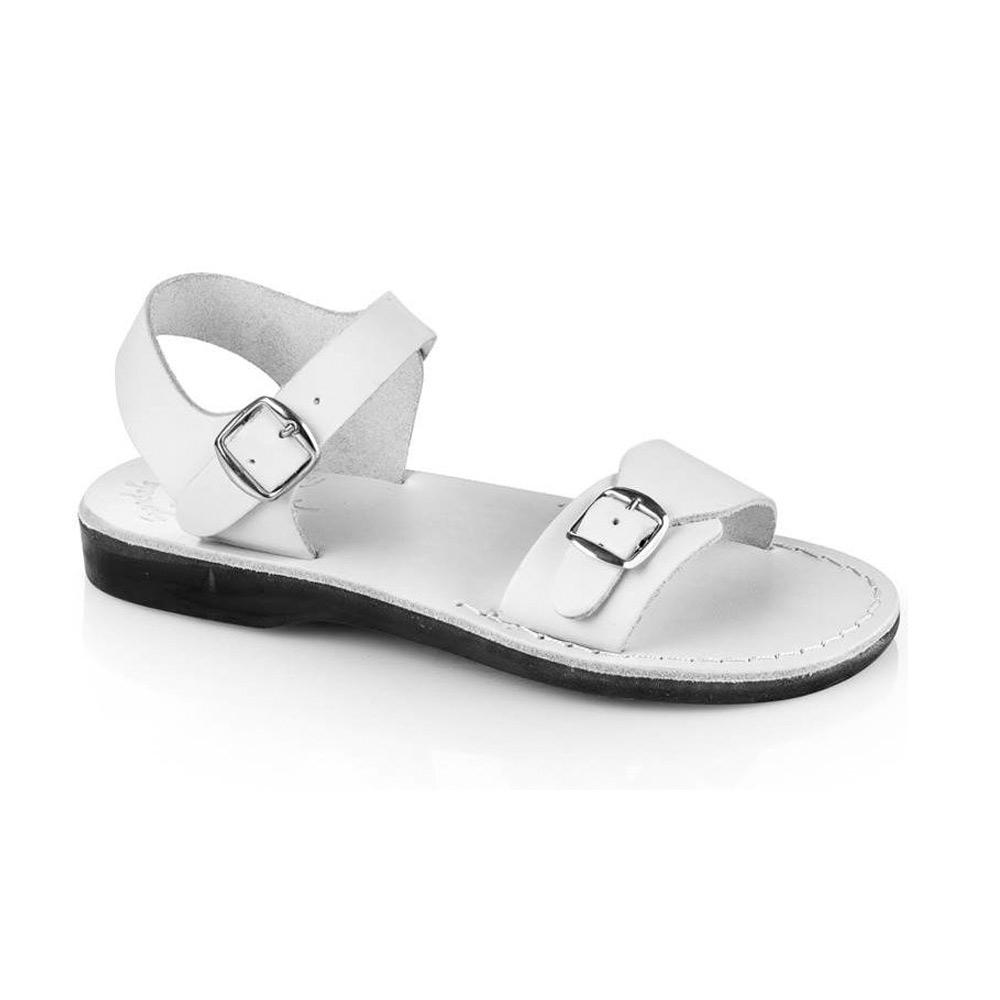 The Original white, handmade leather sandals with back strap  - Front View