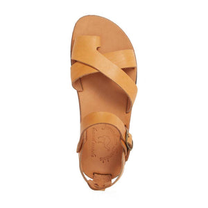 Tovah tan, handmade leather sandals with back strap and toe loop- Side View