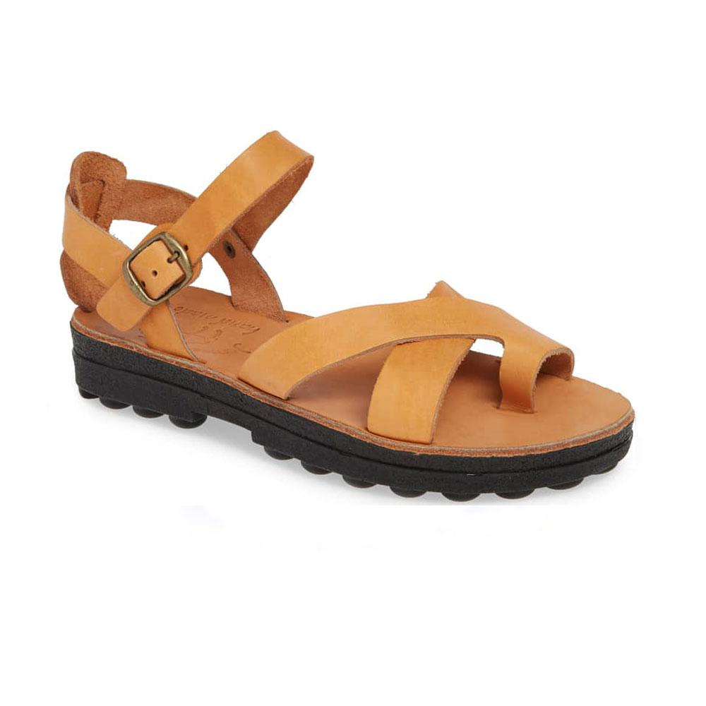 Tovah tan, handmade leather sandals with back strap and toe loop  - Front View