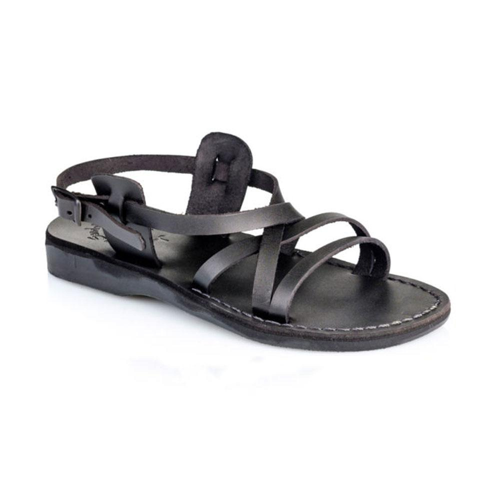Tzippora black, handmade leather sandals with back strap  - Front View
