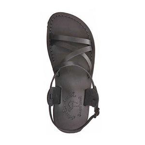 Tzippora black, handmade leather sandals with back strap  - Side View