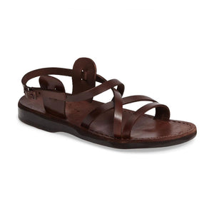 Tzippora brown, handmade leather sandals with back strap  - Front View