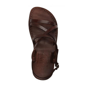 Tzippora brown, handmade leather sandals with back strap  - Side View