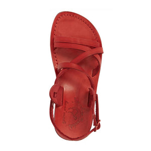 Tzippora red, handmade leather sandals with back strap  - Side View