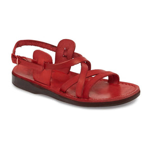 Tzippora red, handmade leather sandals with back strap  - Front View