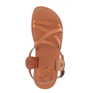 Tzippora tan, handmade leather sandals with back strap  - Side View