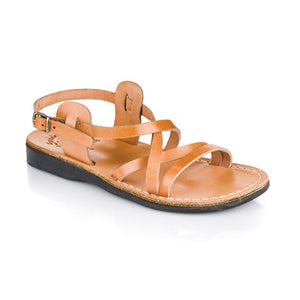 Tzippora tan, handmade leather sandals with back strap  - Front View