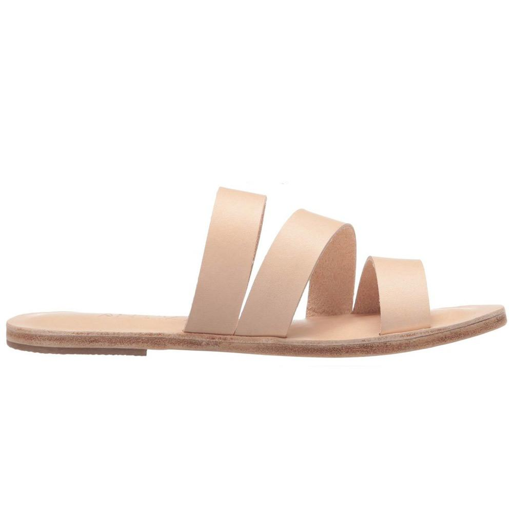 Venice natural, handmade leather slide sandals - Front View