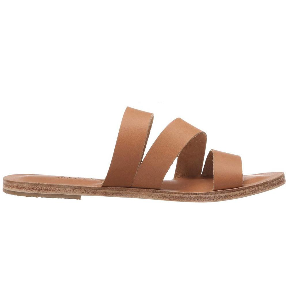 Venice tan, handmade leather slide sandals - Front View