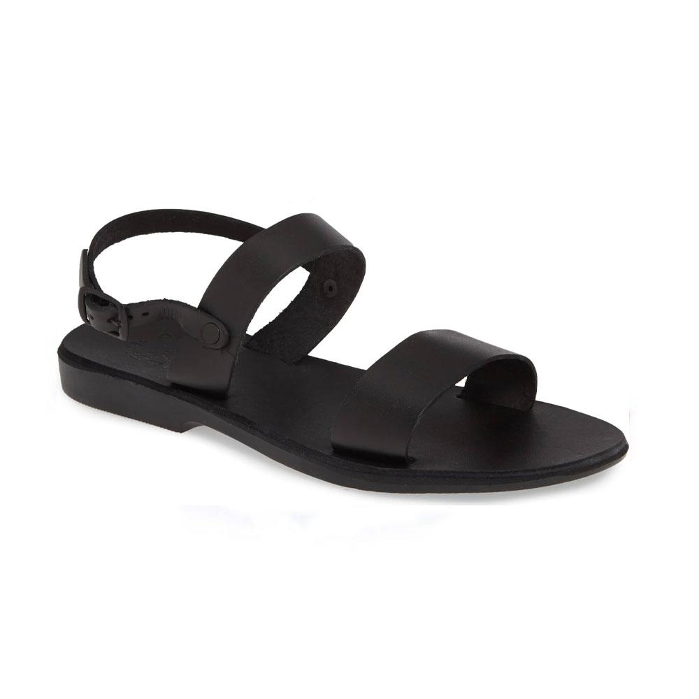 Ziv black, handmade leather sandals with back strap  - Front View