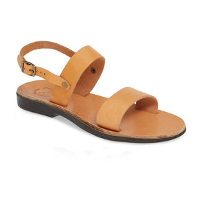 Ziv tan, handmade leather sandals with back strap  - Front View