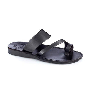 Zohar black, handmade leather slide sandals with toe loop - Front View