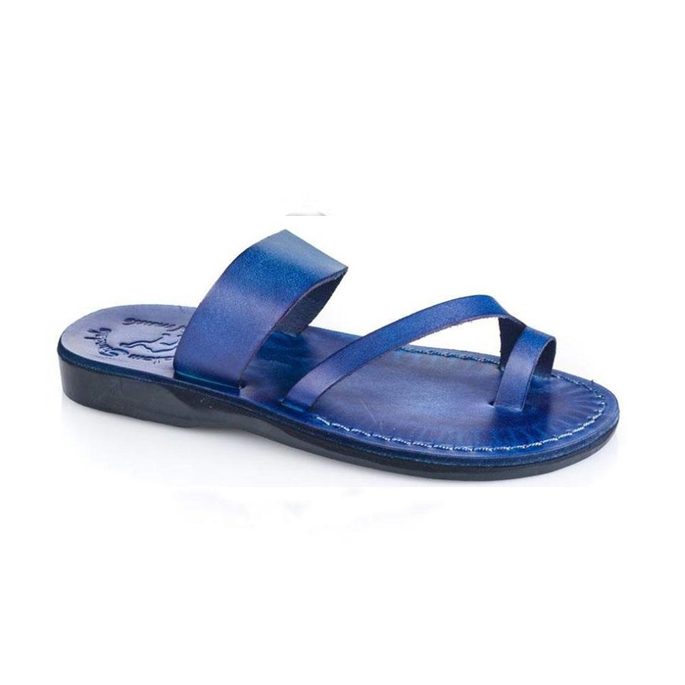 Zohar blue, handmade leather slide sandals with toe loop - Front View
