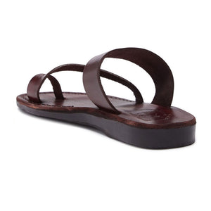 Zohar brown, handmade leather slide sandals with toe loop - back View