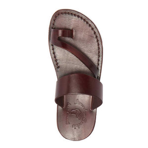 Zohar brown, handmade leather slide sandals with toe loop - Side View