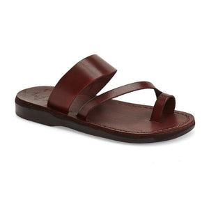 Zohar brown, handmade leather slide sandals with toe loop - Front View
