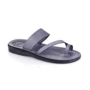 Zohar gray, handmade leather slide sandals with toe loop - Front View