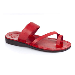 Zohar red, handmade leather slide sandals with toe loop - Front View