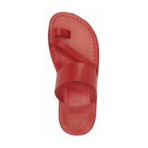 Zohar red, handmade leather slide sandals with toe loop - Side View
