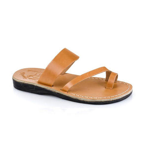 Zohar tan, handmade leather slide sandals with toe loop - Front View