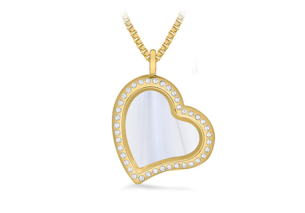 Crystal Heart Treasure Charm Locket on Box Chain