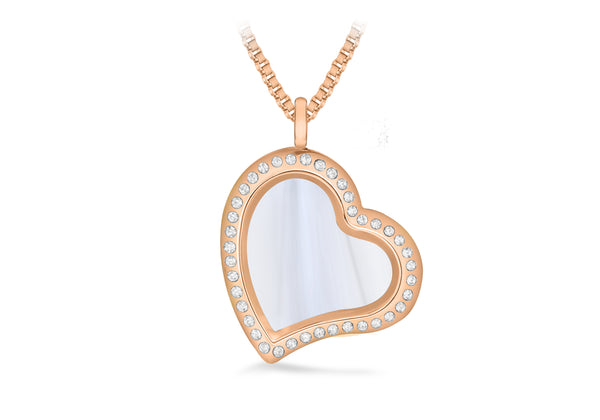 Rose Coloured Crystal Heart Treasure Charm Locket on Box Chain