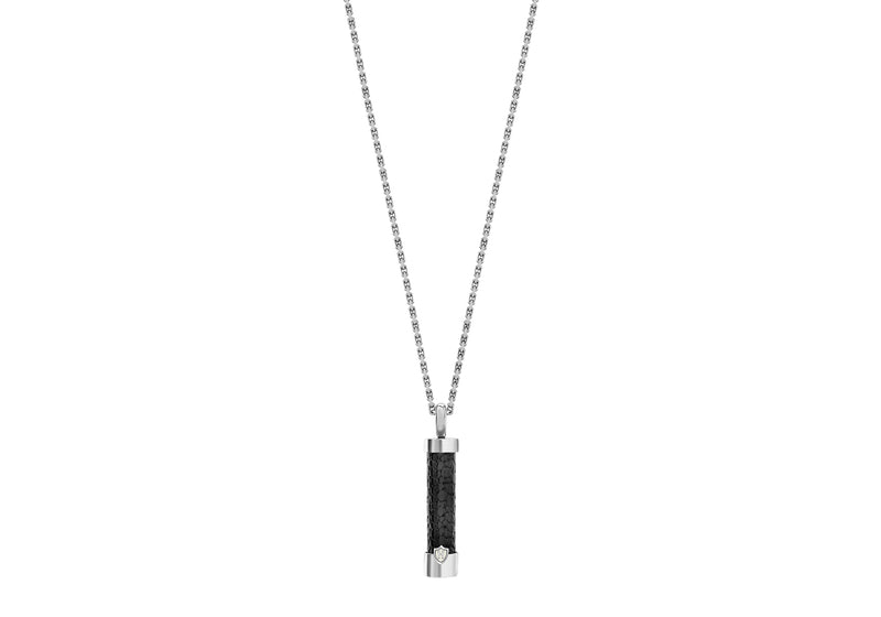 Hoxton London Men's Sterling Silver Black Leather Inlay ylindrial Drop Adjustable Pendant