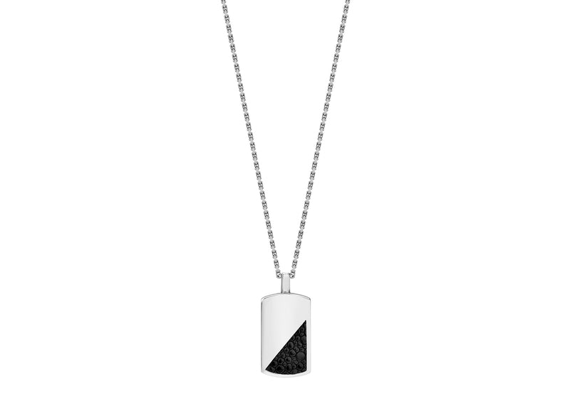 Hoxton London Men's Sterling Silver Black Leather Inlay Dog Tag Adjustable Necklace