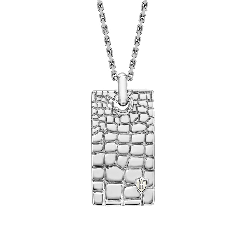 Hoxton London Men's Sterling Silver Wild Crocodile Pattern Dog Tag Adjustable Necklace