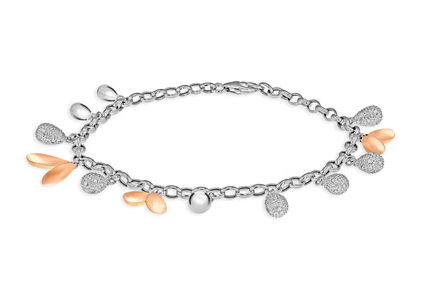 Diamond Charm Bracelet 18ct 2-Colour Gold