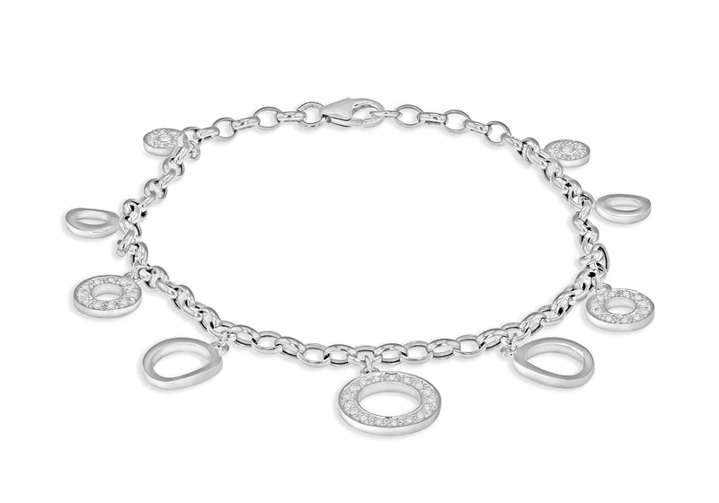 Diamond Disc Charm Bracelet 18ct White Gold