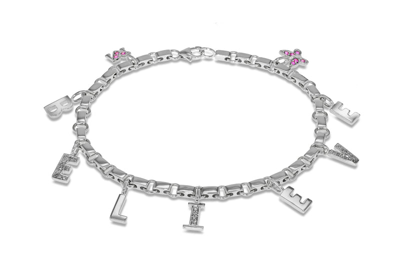 18ct White Gold & Diamonds Believe Bracelet