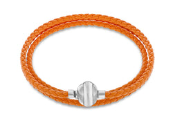 "Sterling Silver Orange Plaited Leather Wrap Bracelet 61m/24""9"