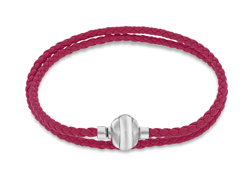 "Sterling Silver Fuhsia Plaited Leather Wrap Bracelet 41m/16""9"