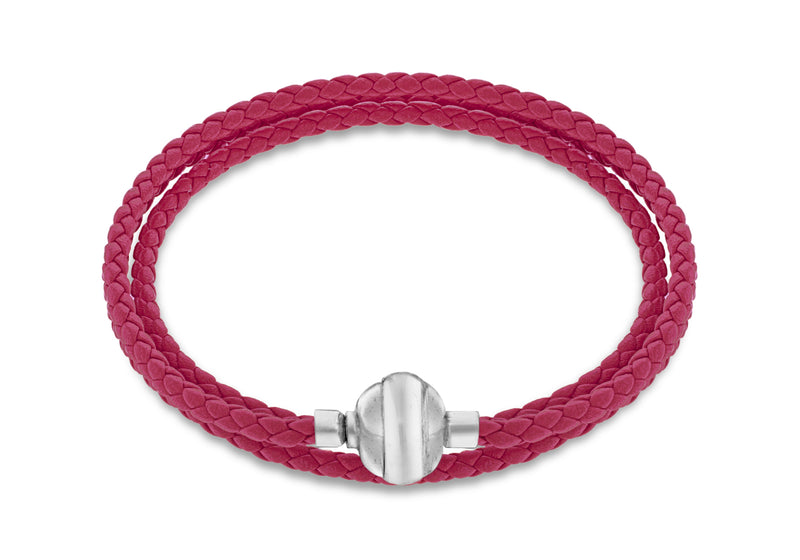 "Sterling Silver Fuhsia Plaited Leather Wrap Bracelet 61m/24""9"