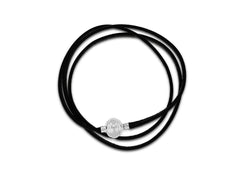 "Sterling Silver Black Leather Wrap Bracelet 61m/24""9"